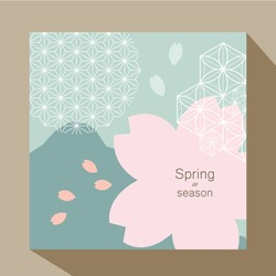 Cherry blossom vector background. Pink flower for cover page design, card, poster, wallpaper, backdrop.