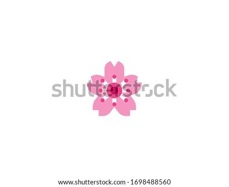 cherry blossom vector flat icon