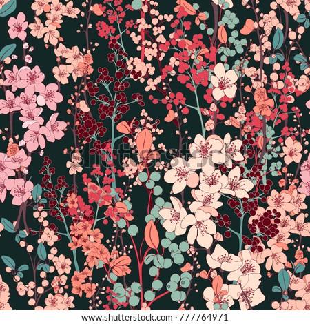 Cherry Blossom Vector Seamless Pattern