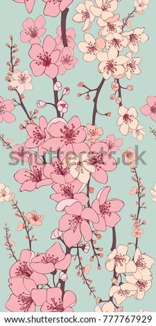 cherry blossom vector seamless