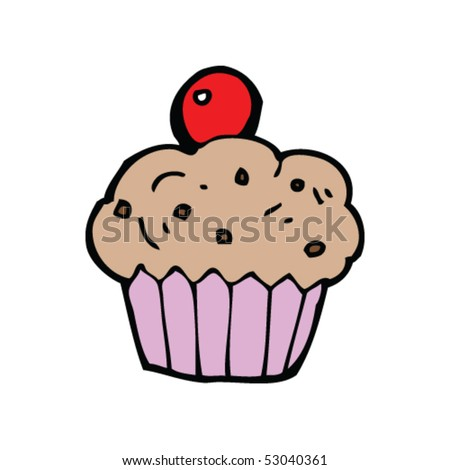 cupcakes cartoon. cherry cupcake cartoon