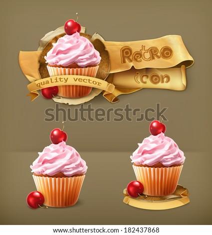 cherry cupcake  retro vector