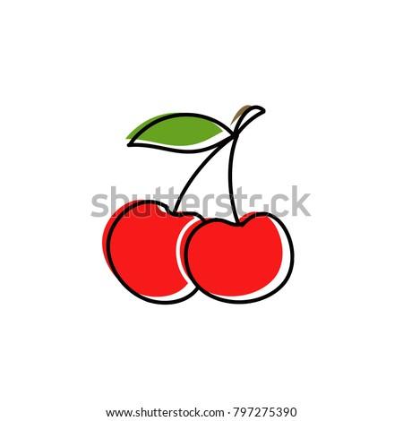 cherry doodle icon