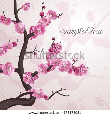 cherry flowers card with