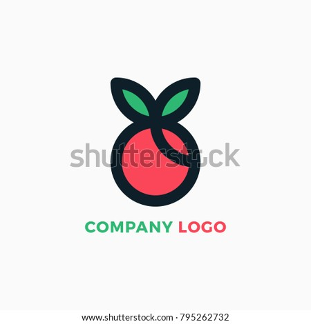 Cherry Fresh Fruits Logo Design Template