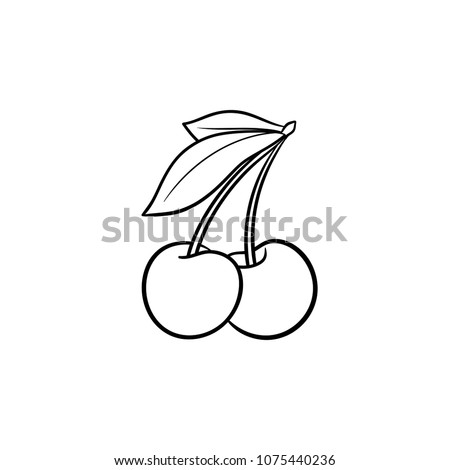 Cherry hand drawn outline doodle icon. Vector sketch illustration of healthy berry - fresh raw cherry on a branch with a leaf for print, web, mobile and infographics isolated on white background.