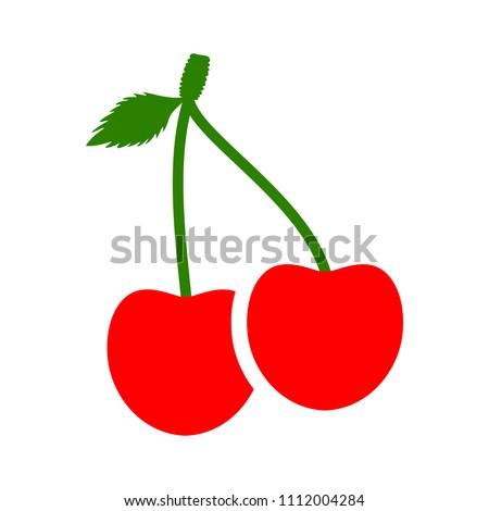 cherry icon, vector fruit illustration, fresh healthy sweet cherries