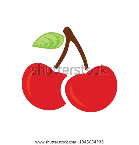 cherry icon, vector fruit illustration, sweet cherries, fresh healthy cherries