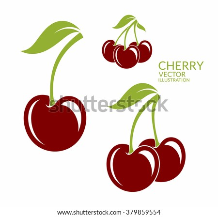 Cherry. Isolated berries on white background. Vector illustration