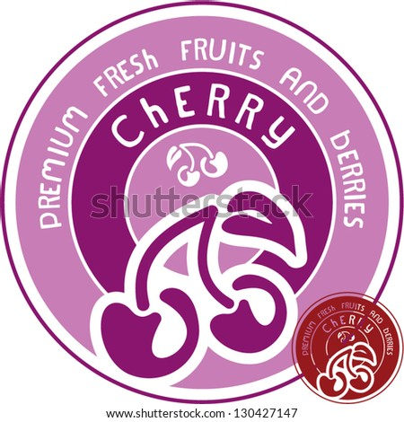 Cherry label. Cherry isolated vector sign.