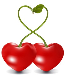 cherry love in vector, contains gradient mesh elements