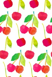 cherry mix seamless pattern. abstract watercolour hand drawn picture. mixed media artwork for textiles, fabrics, souvenirs, packaging and greeting cards.