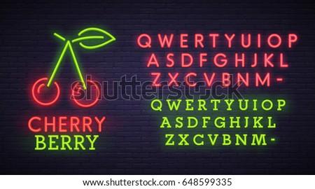 Cherry neon sign, bright signboard, light banner. Berry logo, emblem. Neon sign creator. Neon text edit