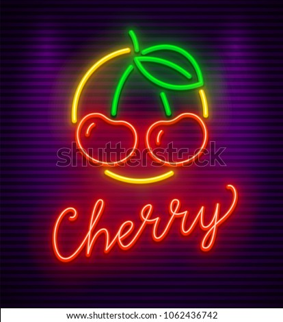 Cherry neon sign with berries and green leaf in circle. Symbol idea for bar or pub. Neon evening illumination, gradient mesh used. Vector illustration.