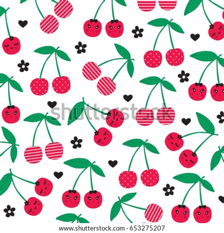 cherry pattern on white background, wrapping paper, vector textile fabric print vector illustration