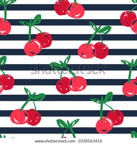 cherry pattern seamless, Hand Drawn cherry vector iluustration