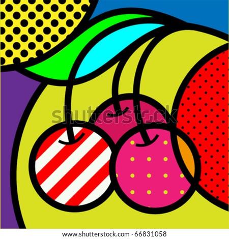 cherry pop art fruits vector