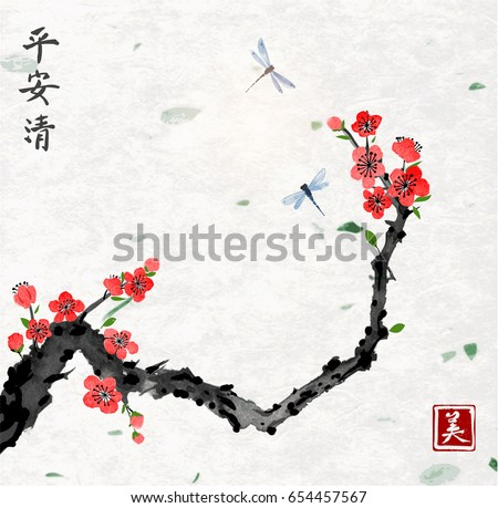 cherry sakura tree branch in