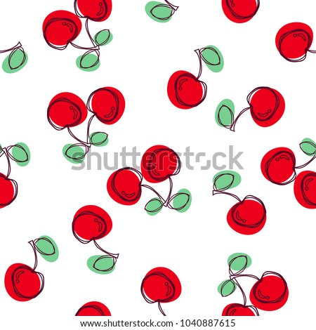 Cherry seamless pattern. Good for textile, wrapping, wallpapers, etc. Sweet red ripe cherries isolated on white background. Vector illustration.