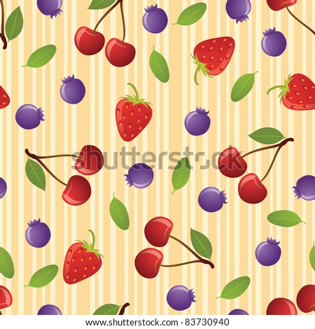Cherry seamless pattern on striped background. EPS 8 CMYK with global colors vector illustration.