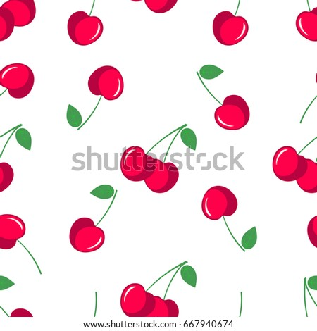 Cherry. Seamless pattern with red sweet cherry berries on white