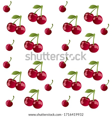 Cherry . Sour cherry. Cherries with leaves on white background. Sour cherries on white. Cherry set. Pattern cherry.