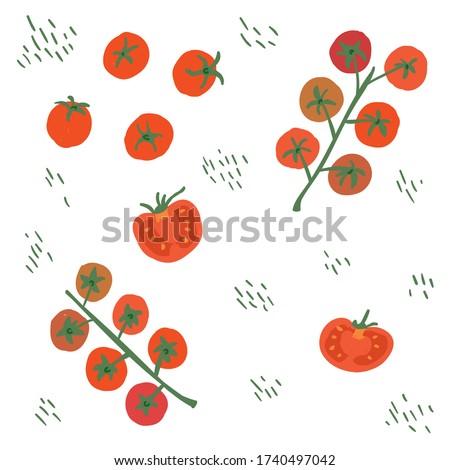 Cherry tomato on branch, whole tomato, chopped tomatoes, tomato slices seamless pattern set. Trendy, cartoon, sketch, doodle modern style.