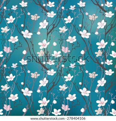 cherry tree blossom seamless