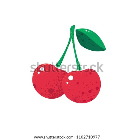 Cherry vector icon. Juicy berry illustration isolated on white background. Cherries fruit stylized modern trendy flat design, simple sign, logo. Noise texture shadow. Vegetarian organic food, detox