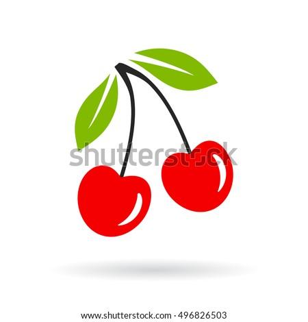 Cherry vector icon on white background. Cherry icon. Cherry icon eps10 vector illustration.