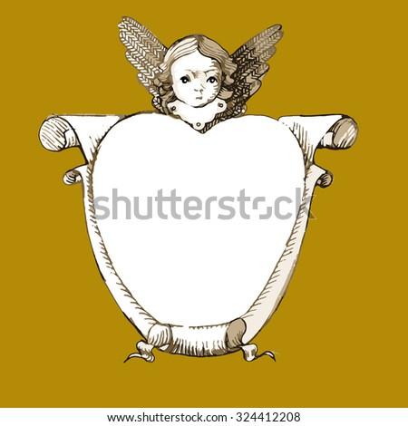 cherub  angel with  heart like
