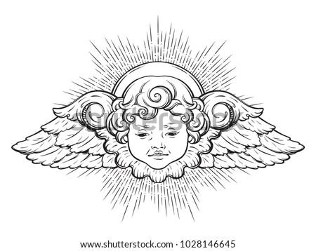 cherub cute winged curly