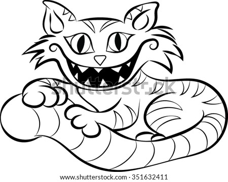 cheshire cat clip art vector illustration - Cheshire Cat Smile Coloring Pages