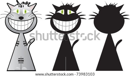Cheshire cat illustration in cartoon style in three options
