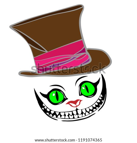 cheshire cat with hat  color