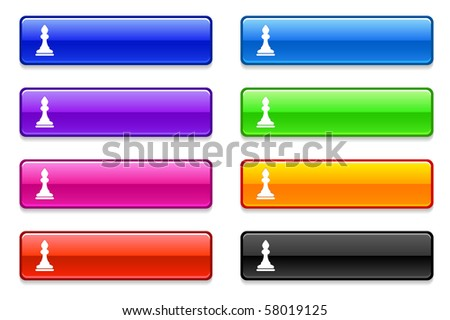 Chess Bishop Icon on Long Button Collection Original Illustration