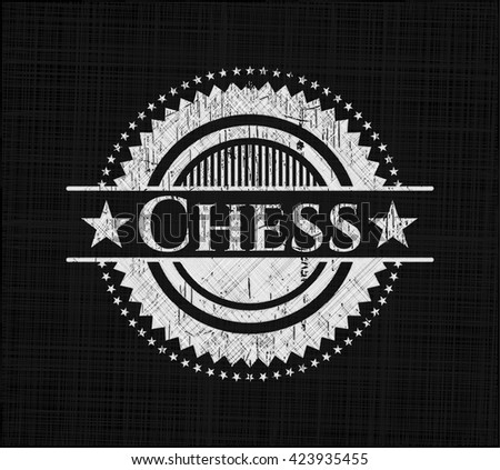 Chess chalkboard emblem on black board