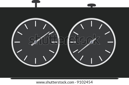 Chess clock. A contour. A vector illustration.