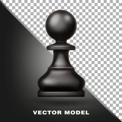 Chess figure, pawn black color. Tool fo game. Sports Equipment. 3d realistic vector illustration.