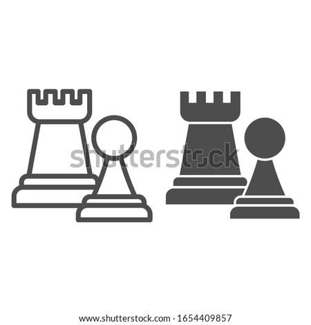 Chess figures line and solid icon. Rook and pawn figure. Jurisprudence vector design concept, outline style pictogram on white background, use for web and app. Eps 10