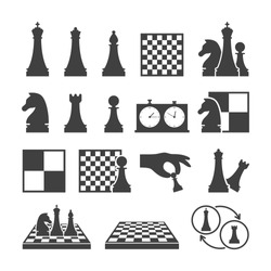 Chess game black icons on white background. Double chess clock, chessboard and chess pieces isolated set. Sport equipment for strategy game vector illustration. Chess classes and tournament symbols.