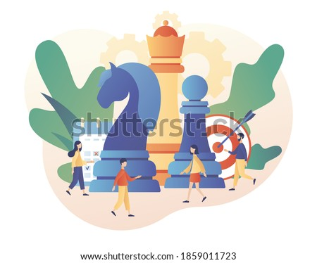 Chess game. Business strategy. Big chess pieces and tiny people work to data analysis, strategy planning and successful business. Modern flat cartoon style. Vector illustration on white background ストックフォト ©