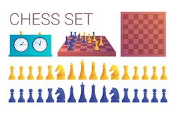 Chess game icons in cartoon style. Double chess clock, chessboard, yellow and blue chess pieces set isolated on white background. Sport equipment for intellectual and strategy game vector illustration