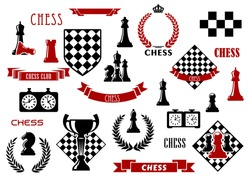 Chess game items and heraldic elements with chessboard, queen, king, bishop, knight, rook and pawn, clock, trophy, checkered shield, wreath, ribbon banner and crown