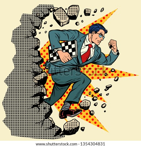 chess grandmaster breaks a wall, destroys stereotypes. Moving forward, personal development. Pop art retro vector illustration vintage kitsch