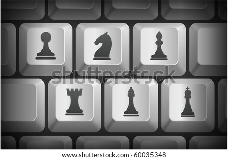 Chess Icons on Computer Keyboard Buttons Original Illustration