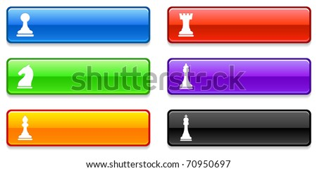 Chess Icons on Long Button Collection Original Illustration