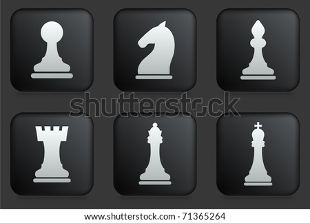 Chess Icons on Square Black Button Collection Original Illustration
