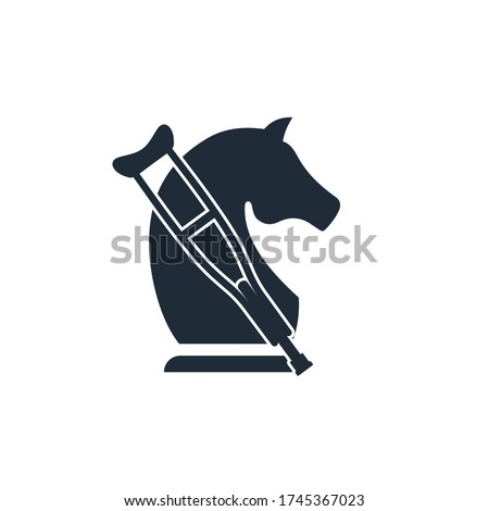 Chess knight and crutch. Economic failure. Lame business. Vector icon isolated on white background. Photo stock ©