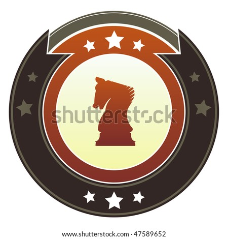 Chess, knight or strategy icon on round red and brown imperial vector button with star accents suitable for use on website, in print and promotional materials, and for advertising.